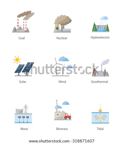 Power plant icon vector symbol set on white - stock vector