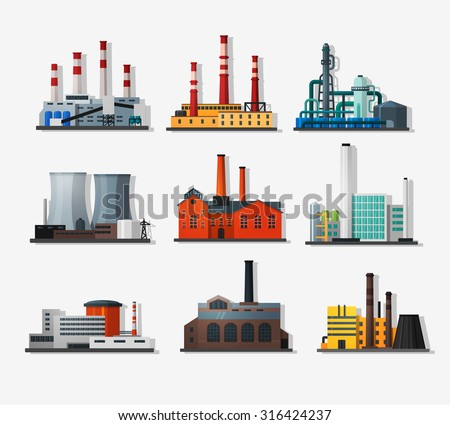 Power plant icons in flat style and long shadow. Nuclear power plant and chemical plant, old factory and modern plant.   Detailed flat style. - stock vector