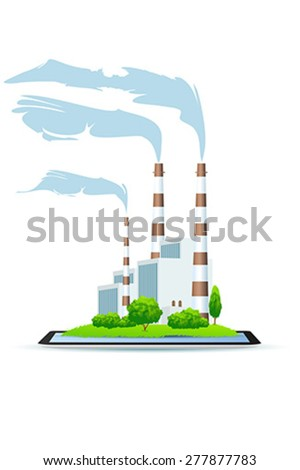 Power Plant on Tablet Icon isolated on white background - stock vector