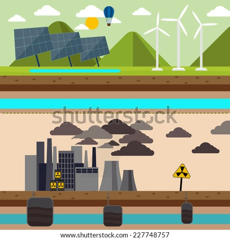 Power plant smokestacks emitting smoke over urban cityscape in cartoon style. Smokestack in factory with black yellow sky and clouds. Renewable energy like hydro, solar, geothermal - stock vector