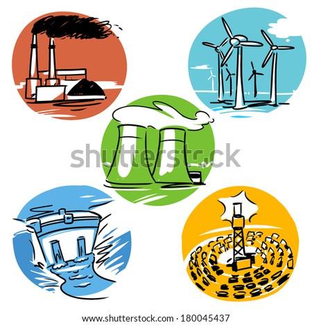 power plants illustration set. Coal plant, Wind turbines, Solar plant, Atomic plant, Dam - stock vector