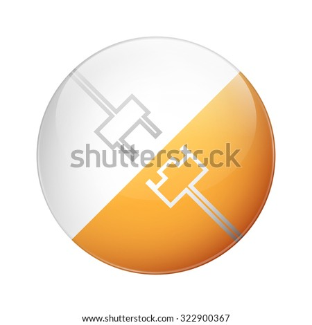 power plug glossy round button, concept of electricity - stock vector
