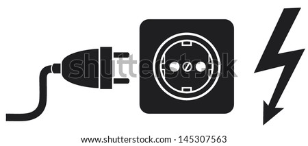 power plug, power outlet and lightning symbol (power cords, plug cable, electric outlet) - stock vector