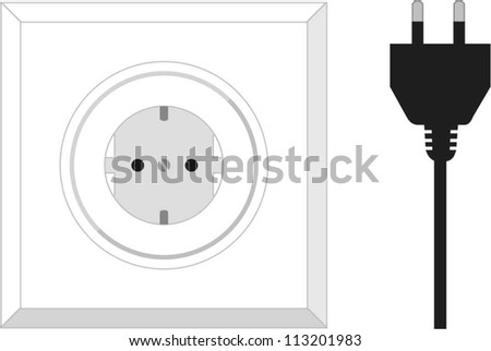 power sockets and plugs - stock vector