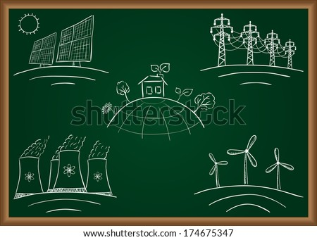 Power station energy doodles on green table - stock vector