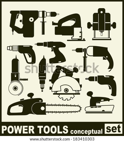 Power Tools - conceptual set of isolated vector icons on white background. - stock vector