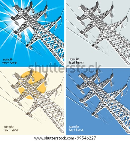 Power Transmission Line on a background a sun, vector illustration - stock vector