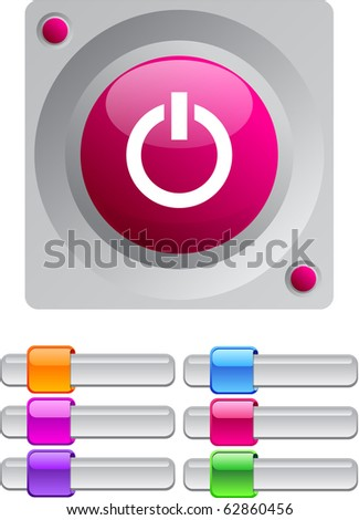 Power vibrant round button with additional buttons. - stock vector