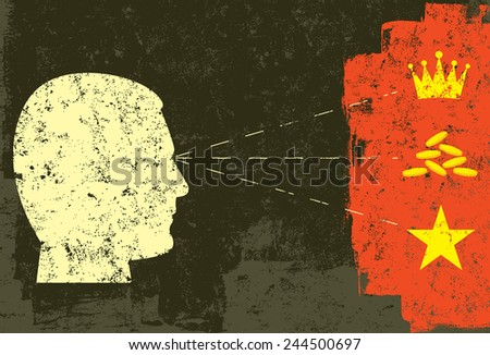 Power, Wealth, and Fame A head in profile looking at its desires. Power(crown), wealth (gold coins), and fame(star). The artwork and background are on separate labeled layers. - stock vector