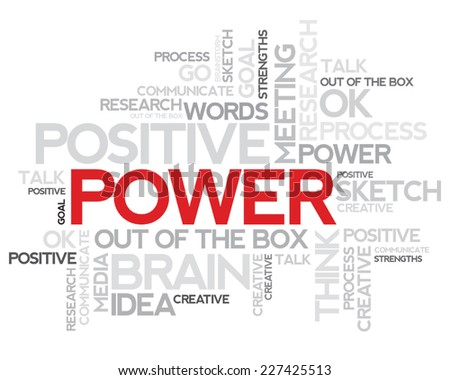 Power Word cloud:Words relating and associated with power qualities have been written in the form of a word cloud - stock vector