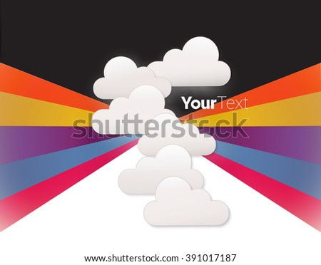 Powerful and Happy Minimal Clouds Flow Chart Page Illustration  - stock vector