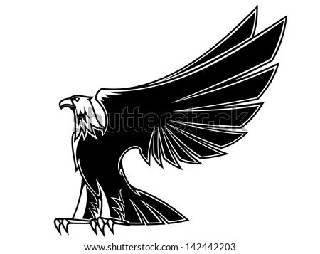 Powerful and majestic eagle for mascot, tattoo or heraldry design, also as a logo template. Jpeg version also available in gallery  - stock vector