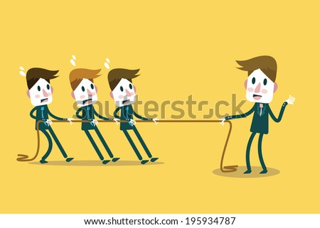 Powerful Businessman tug of war with many businessmen. Business leadership and competition Concept. flat design element. Vector - stock vector