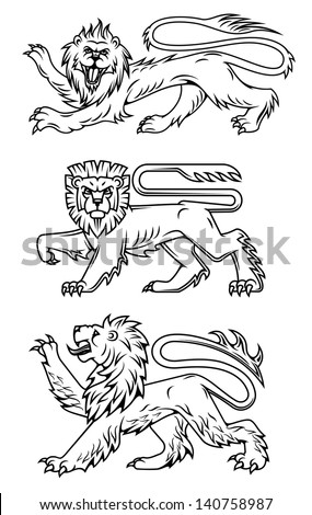 Powerful lions and predators for heraldry design or logo template. Jpeg (bitmap) version also available in gallery - stock vector