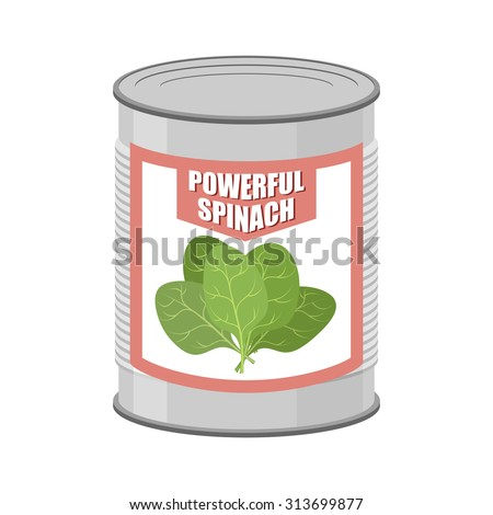 Powerful spinach. Canned spinach. Canning pot with lettuce leaves. Delicacy for vegetarians. Vector illustration