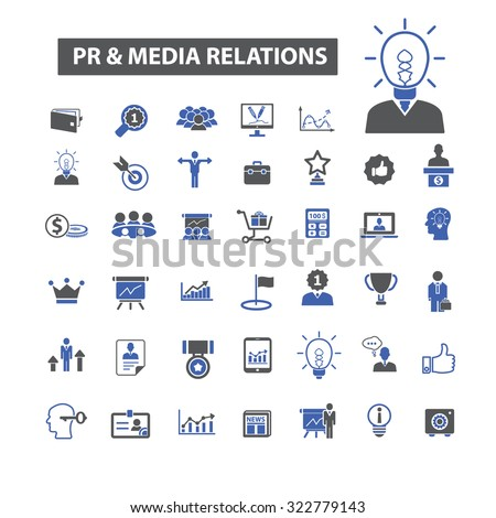 pr, public relations and media, marketing icons - stock vector