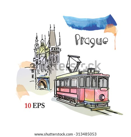 prague - stock vector