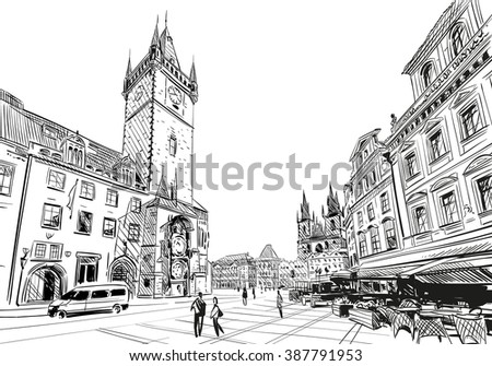 Prague city hand drawn sketch. European city, vector illustration - stock vector