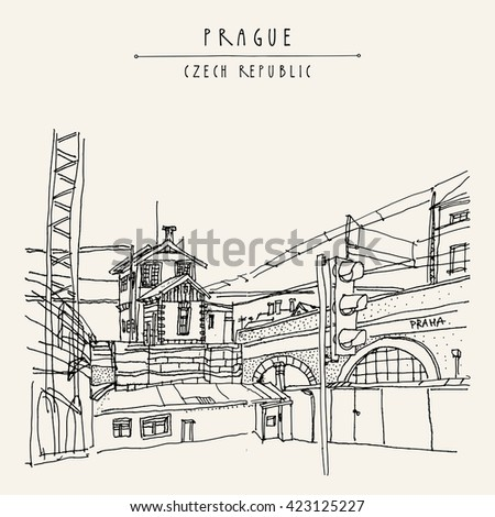 Prague, Czech republic, Europe. Artistic hand drawn illustration of old industrial buildings near bus station. Steam punk postcard or poster template, book illustration in vector - stock vector