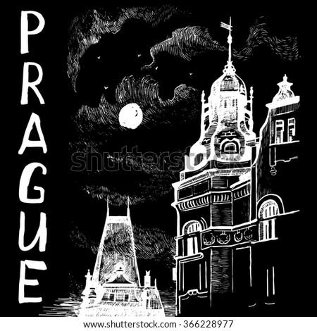 Prague. European town drawn with white chalk on blackboard. Vector illustration eps 10 file. - stock vector