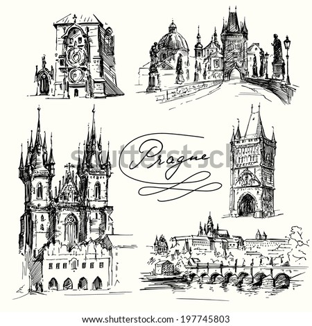 Prague - hand drawn collection - stock vector