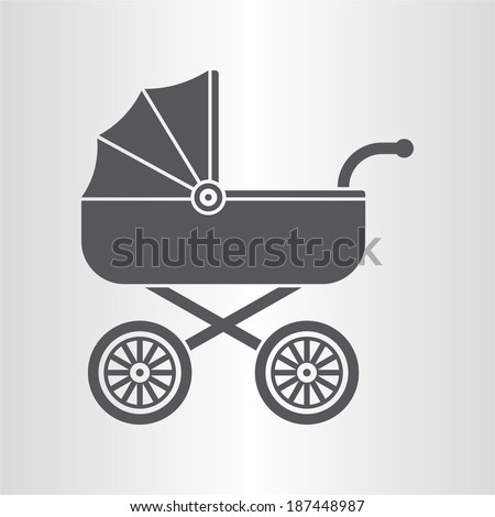 Pram (baby carriage) icon - stock vector