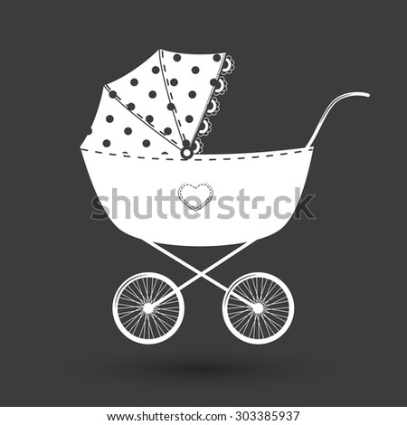 Pram - baby carriage.White icons on black background - stock vector