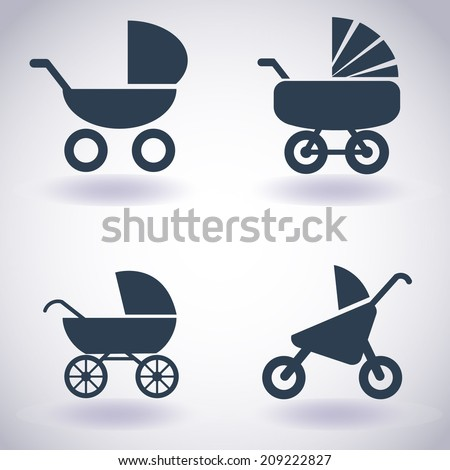 Pram icon set (kit). Vector EPS10   (buggy, pram, perambulator, waggon, wagon, go-cart) - stock vector