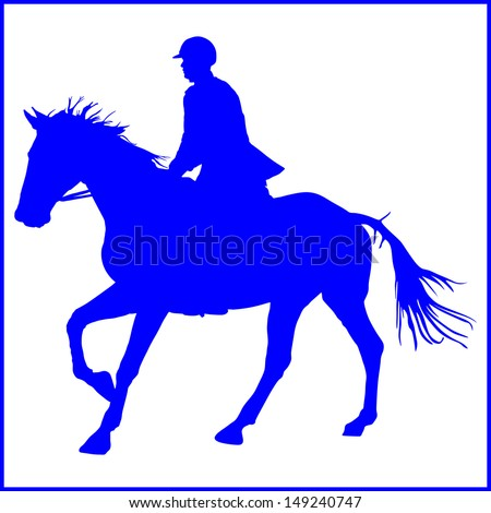prance horse blue silhouette, vector illustration , horse race, isolated on white background, polo player - stock vector