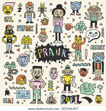 Prank Doodle Color Set. Wacky Funny Characters. Vector Hand Drawn Illustration.  - stock vector