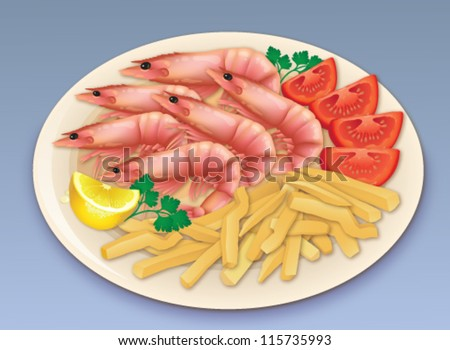 Prawn seafood feast. Vector illustration of a delicious meal of six prawns and french fries, garnished with lemon, parsley and tomato. - stock vector