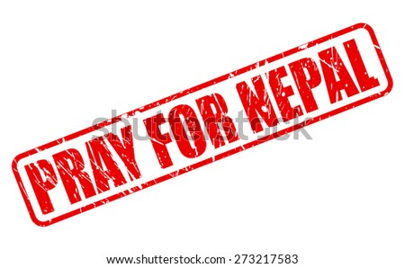 Pray for nepal red stamp text on white - stock vector