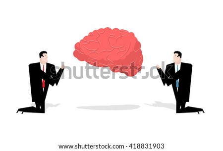 Prayer brain. Worship ideas. Businessman praying to thoughts. Prayer idea. People kneel