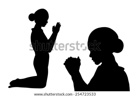 Prayer silhouette -Woman paying isolated on white background - stock vector