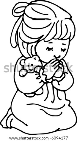 Praying Girl - stock vector