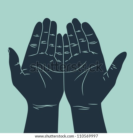 praying hand - stock vector