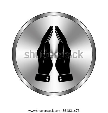 Praying hands - vector icon;  metal button - stock vector