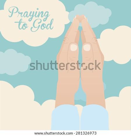 Praying to God design over sky background, vector illustration - stock vector