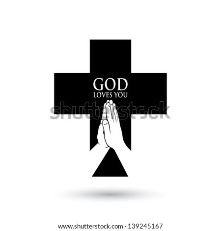 Praying - vector illustration - stock vector