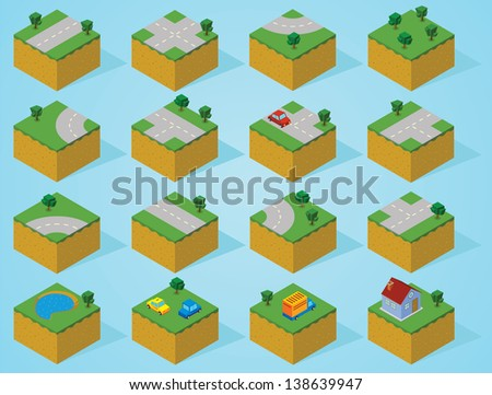 pre assembly isometric map-road - stock vector
