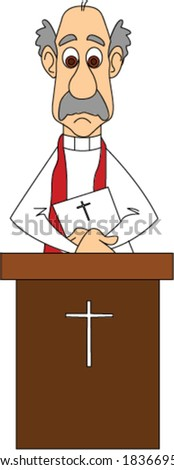 Preacher Behind Pulpit - stock vector