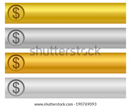 precious metal bars with dollar sign - stock vector