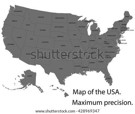 Precision Map - USA with federal states. High detailed vector map - stock vector