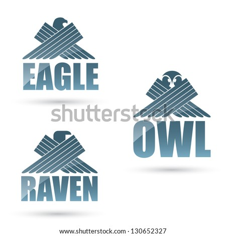 Predatory birds labels - vector illustration - stock vector