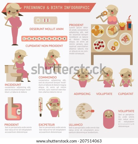 Pregnancy and birth infographics - stock vector