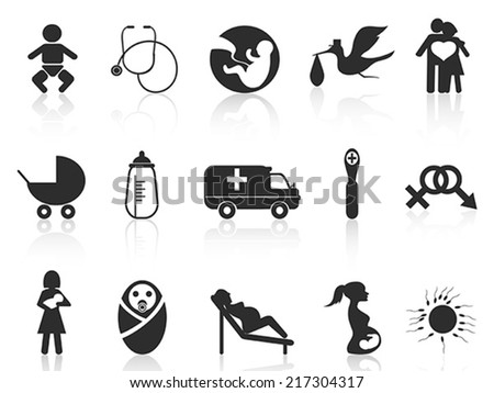 pregnancy and newborn baby icons set - stock vector