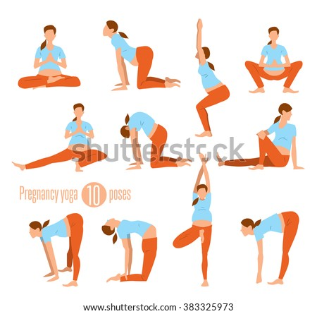 Pregnancy yoga. Yoga for pregnant women. Yoga poses. Doing Stretches and Light Weight Aerobics. Yoga Exercises. Different yoga poses. Yoga pregnant concept. yoga pregnant poses. Yoga woman.  - stock vector