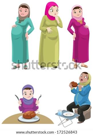 Pregnant Khaliji Women-vector - stock vector