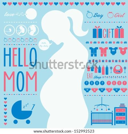 Pregnant Mom - stock vector