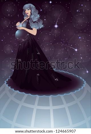 Pregnant night sky women, vector illustration - stock vector